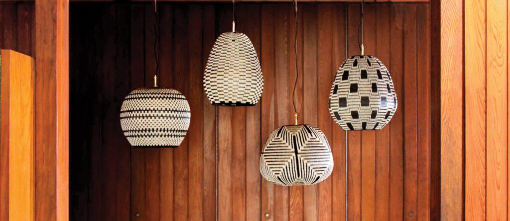 Laura Aviva's woven lighting collection.