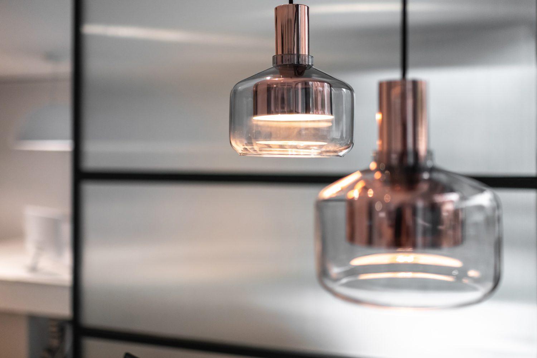 Subtle lighting fixtures illuminate the space.