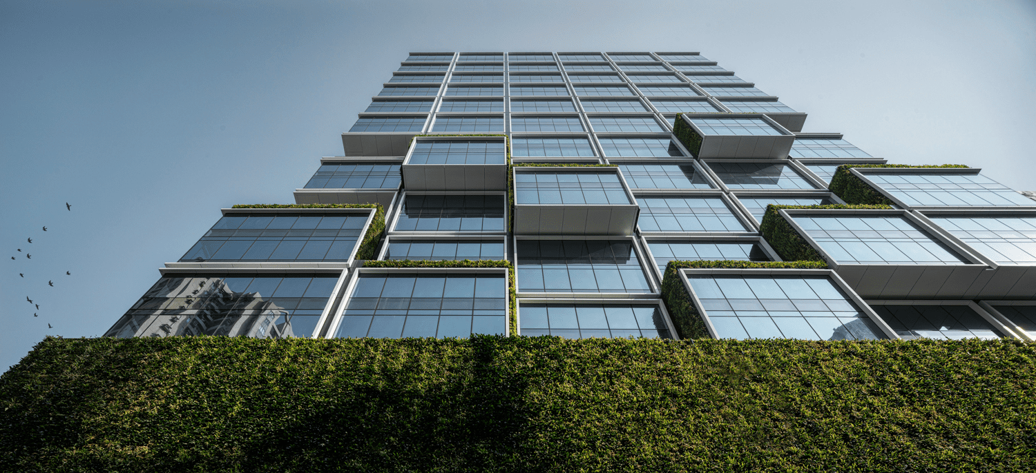 A living wall interacts with glazing on the façade of the K11 Atelier Kings Road.