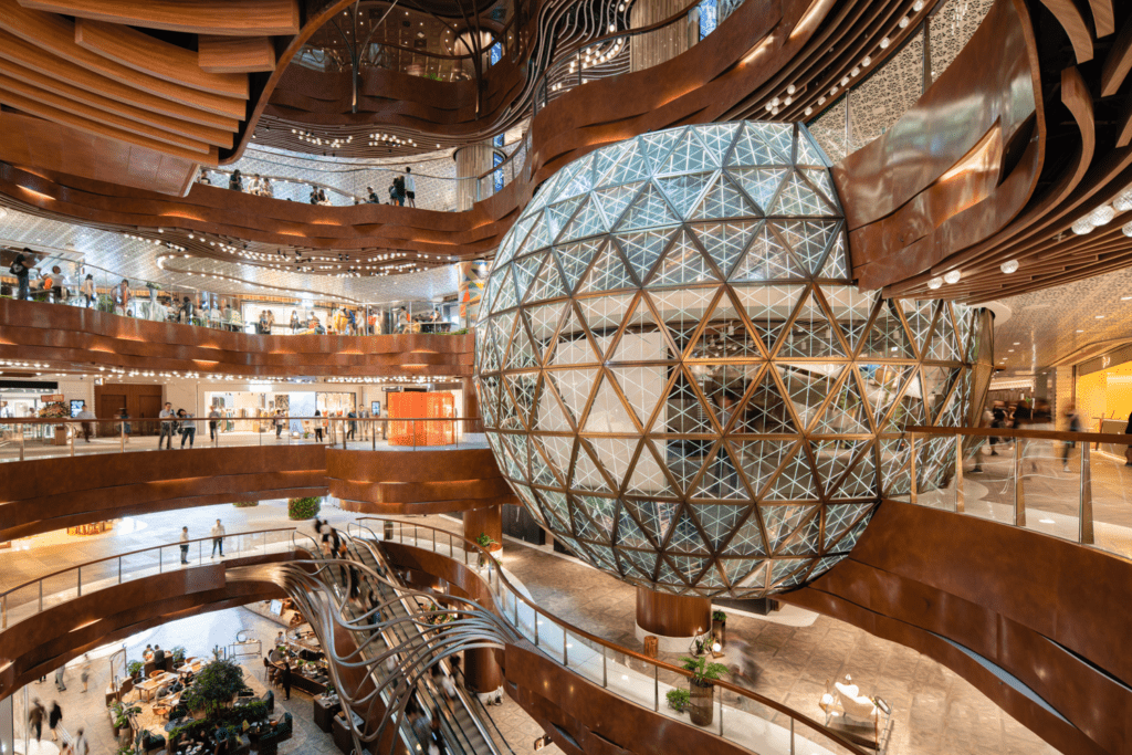 The K11 Musea includes an exhibition center within a geodesic ball.
