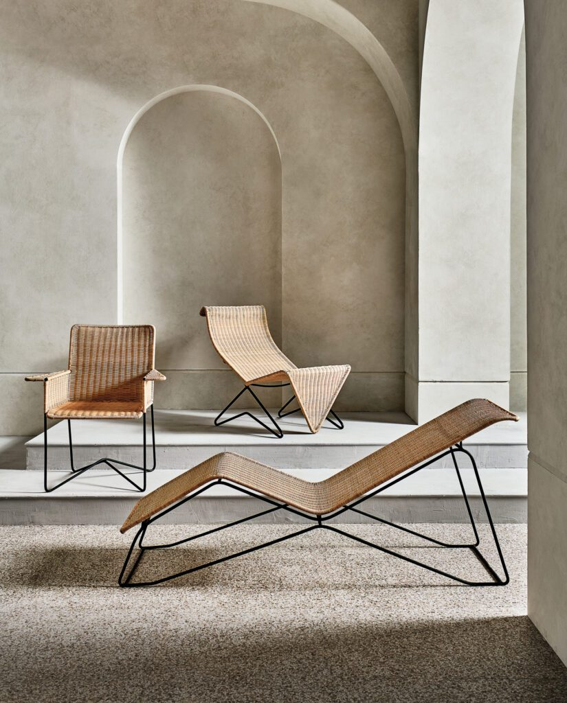 Clara Porset's Sillon en Mimbre (aka wicker lounge chair), Silla en Mimbre (wicker chair), and Camastro en Mimbre (wicker chaise lounge) designs mix traditional craft with European modernist influences.
