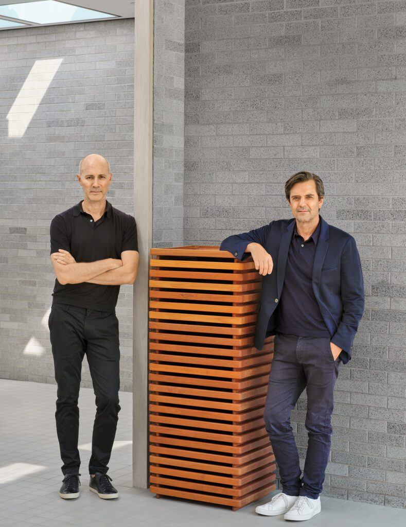 Craig Bassam and Scott Fellows in Philip Johnson's 1952 Schlumberger Research Center Administration Building in Ridgefield, Connecticut, which they've transformed into the BassamFellows headquarters.
