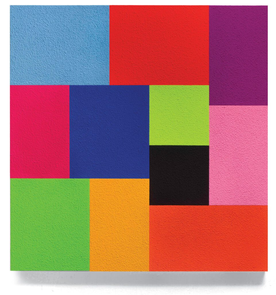 His Close by Peter Halley is a multi-colored geometric work of art in the shape of a square. Shares and rectangles of blue, red, purple, pink, green, black and orange are collaged together into one large square.