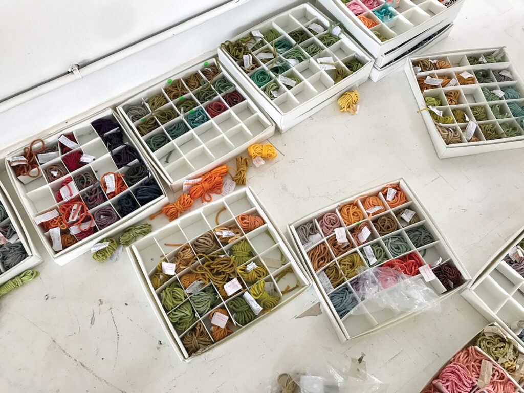 To choose the colors—ultimately nature-inspired yellows, oranges, reds, and greens—Neto referred toa collection of threads stored in his Rio de Janeiro studio.