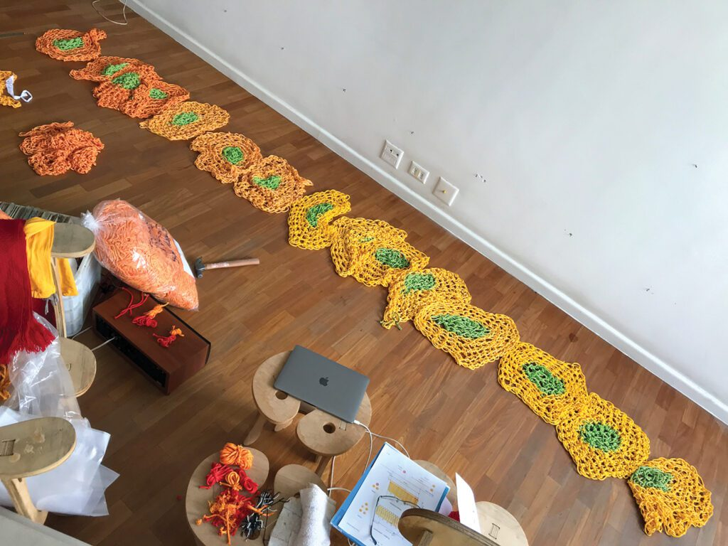 Polymer string was hand-crocheted into small segments by Neto and his team, including three of his relatives, often working at their homes due to the pandemic.
