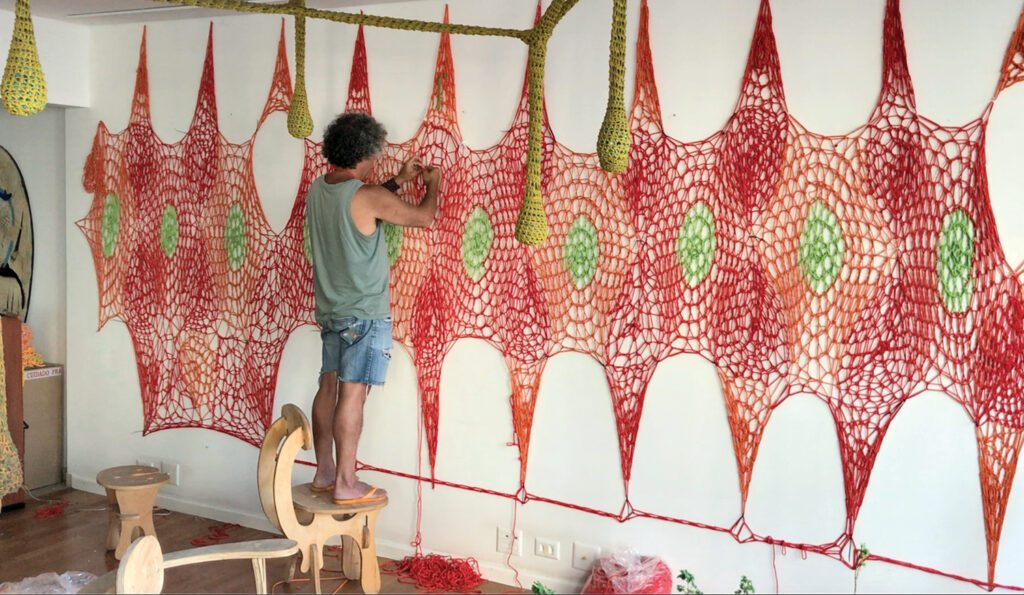 He worked in his studio on larger segments that would ultimately be sewn together.
