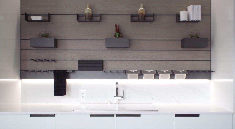 Monogram appliances in white.