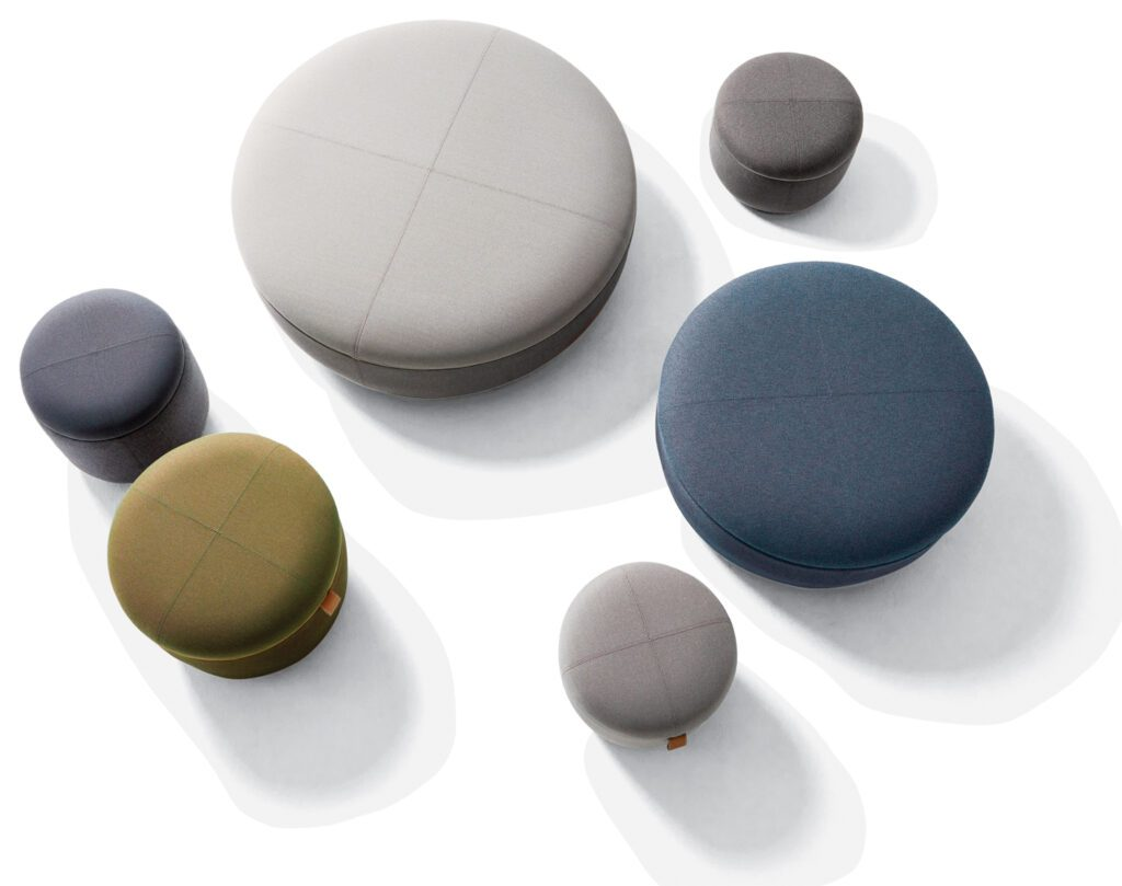 LW ottomans in urethane foam and cotton-poly fabric by Okamura.