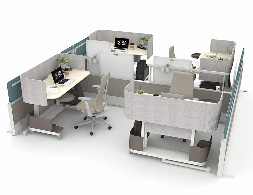 Compose Echo workstation system in fabric, steel, wood, glass, and markerboard by Haworth.