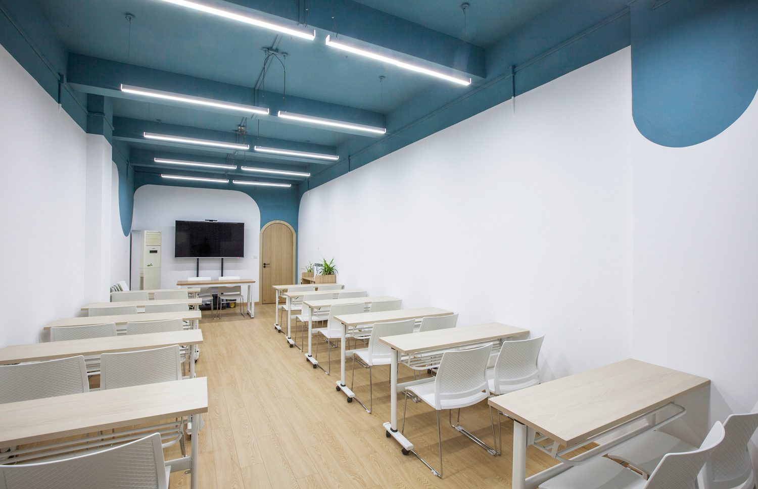 An educational space offers modular seating.