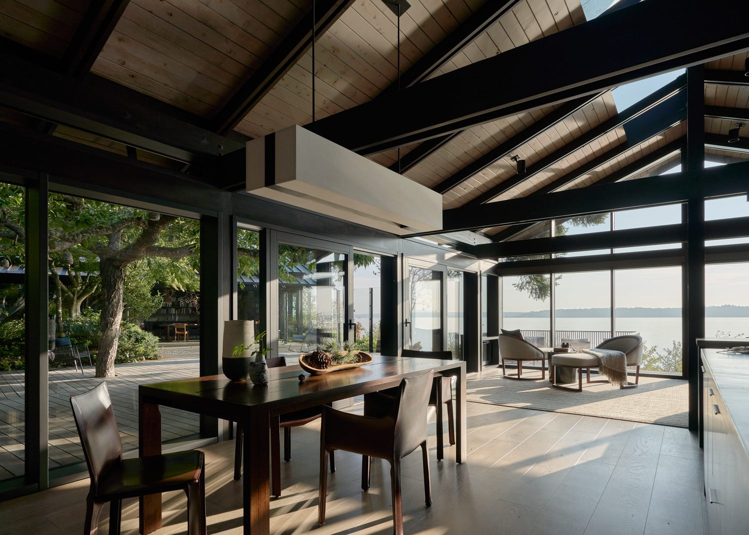 The indoor-outdoor dining area with views of Puget Sound.