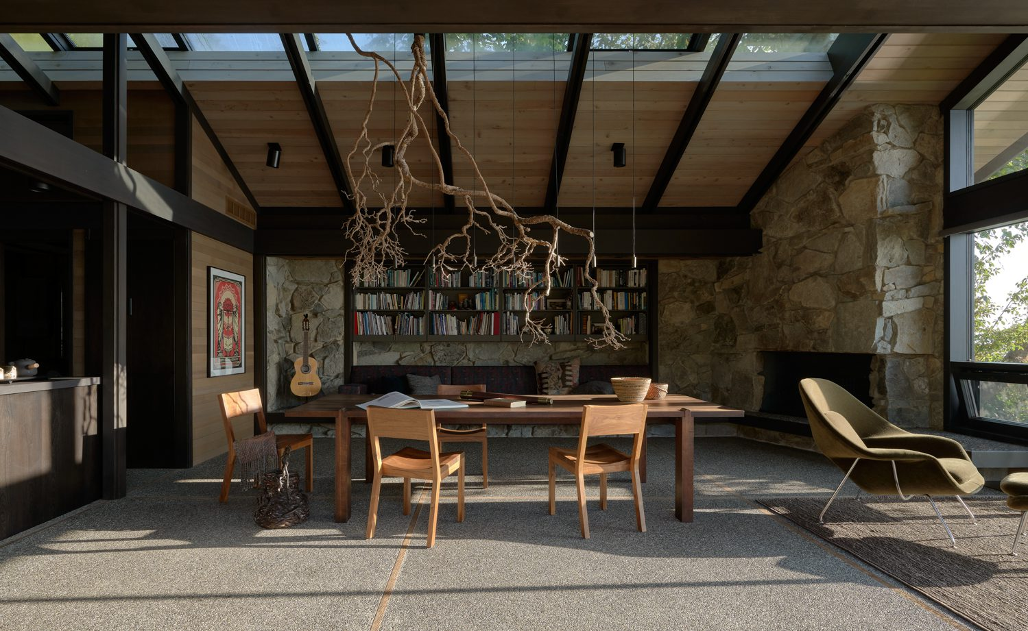 The dining table with skylights overhead.