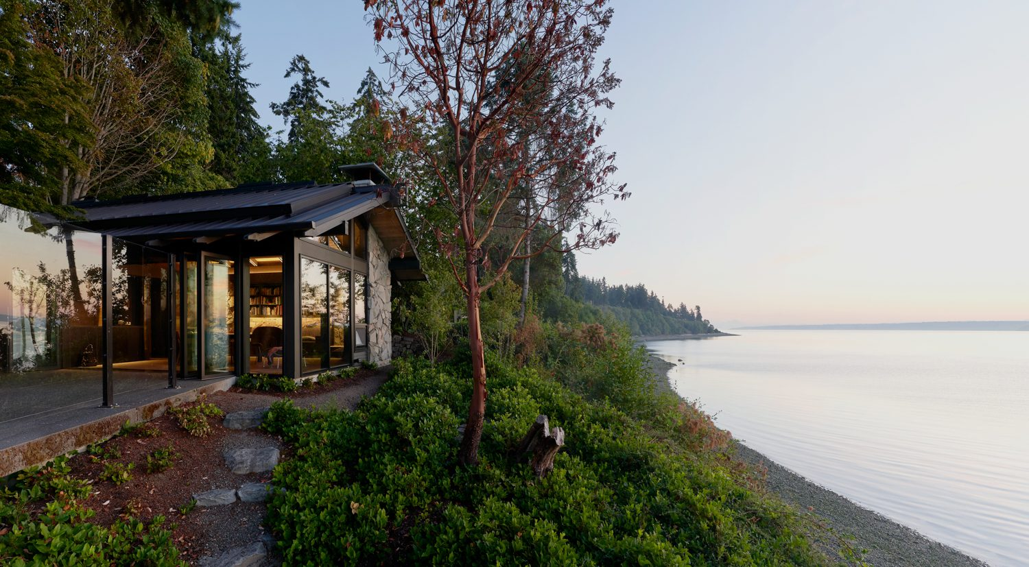 The home overlooks Puget Sound.