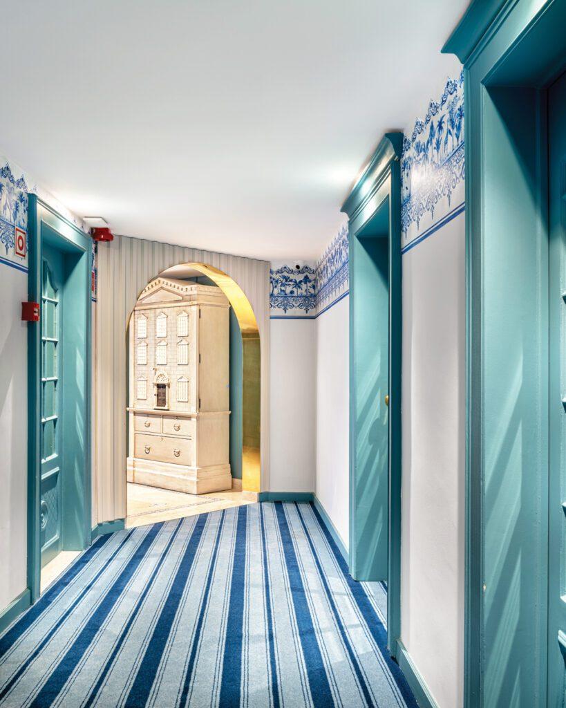 The corridor carpet was made locally.