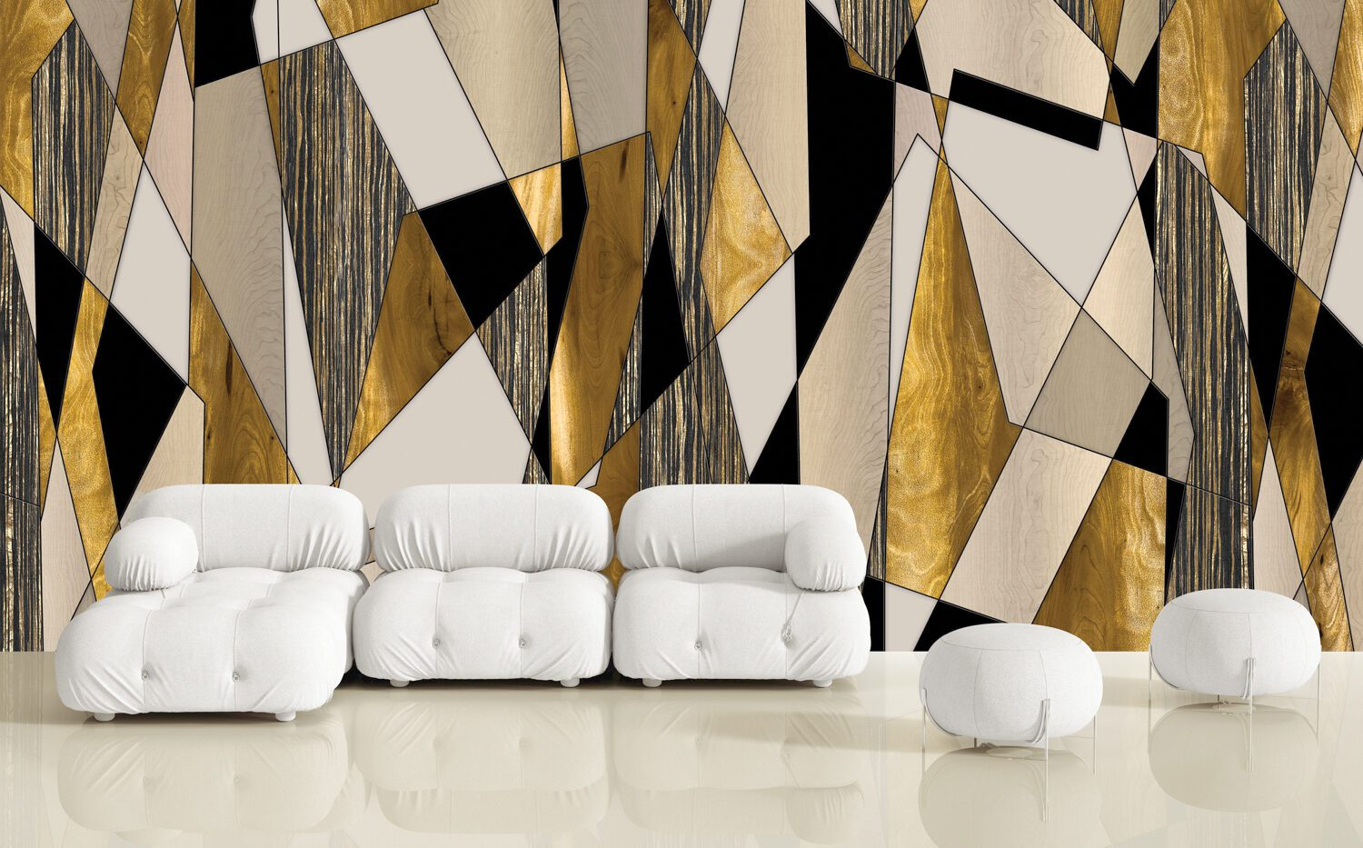 Patty Madden's Zeebo Wood Shard bleach-cleanable wall covering in digitally printed Type II vinyl Mylar by Luxe Surfaces.