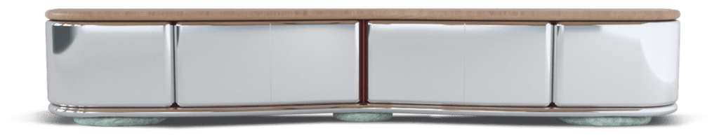 Wavy credenza with light oak top, Irish Green marble base, polished-stainless-steel drawer fronts, and leather-wrapped interior by Orior.