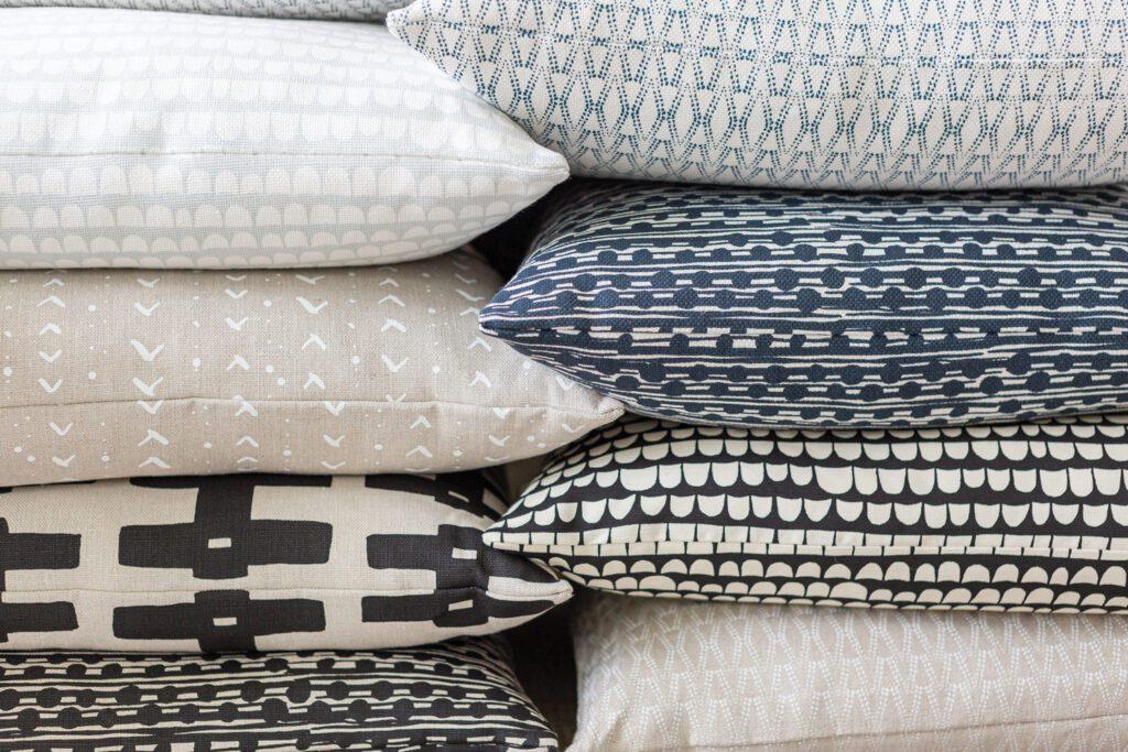 Linen pillows by Caroline Cecil of Caroline Cecil Textiles.