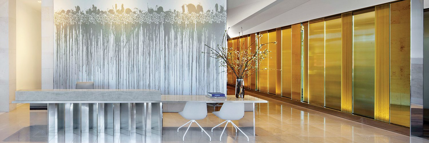Contemporary hotel lobby designed by Lauren Rottet