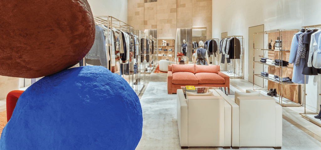 Inside the retail locale of Louis Vuitton London.