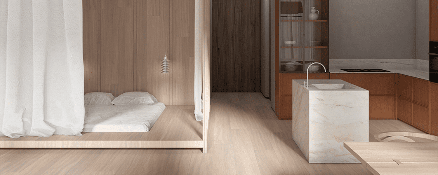 The glazed bedroom offers natural light, along with a Tip Top light by Pandul for after dark.