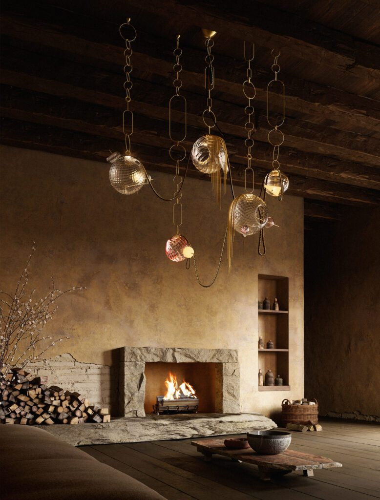 Paradise chandelier with globes of glass lighting fixtures.
