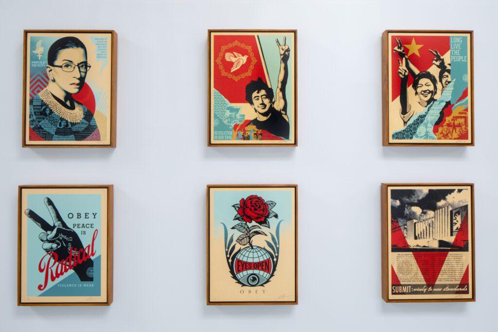Silk screen prints by Shepard Fairey.