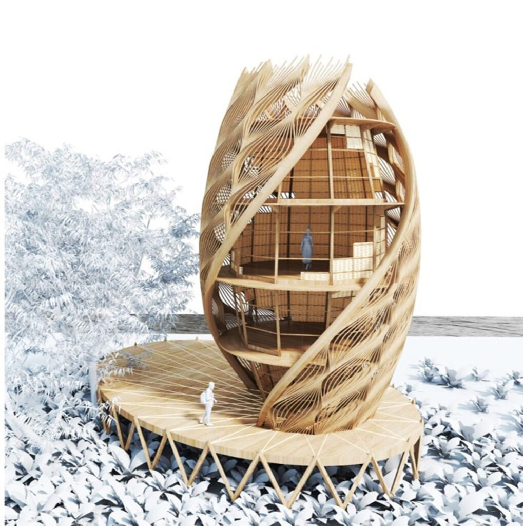 A rendering of a bamboo, timber, and earth Eco Pod, a carbon-negative sustainable home structure intended for responsible tourism in Mexico by Arthur Mamou-Mani. Rendering courtesy of Mamou-Mani.