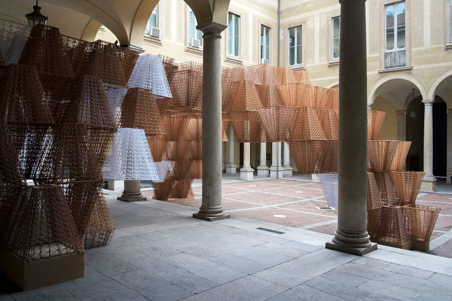 """""""Conifera,"""" an installation by Arthur Mamou-Mani presented by fashion label COS at the 2019 edition of the Milan Furniture Fair. Photography courtesy of Mamou-Mani."""