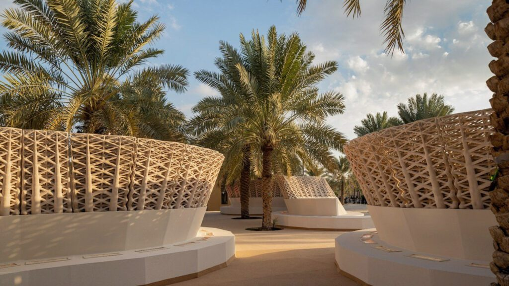 Sandwaves, a sand-printed installation by Arthur Mamou-Mani and Chris Precht of Austria-based firm Precht, presented in Riyadh, Saudi Arabia. Photography by Roberto Conte/courtesy of Mamou-Mani.