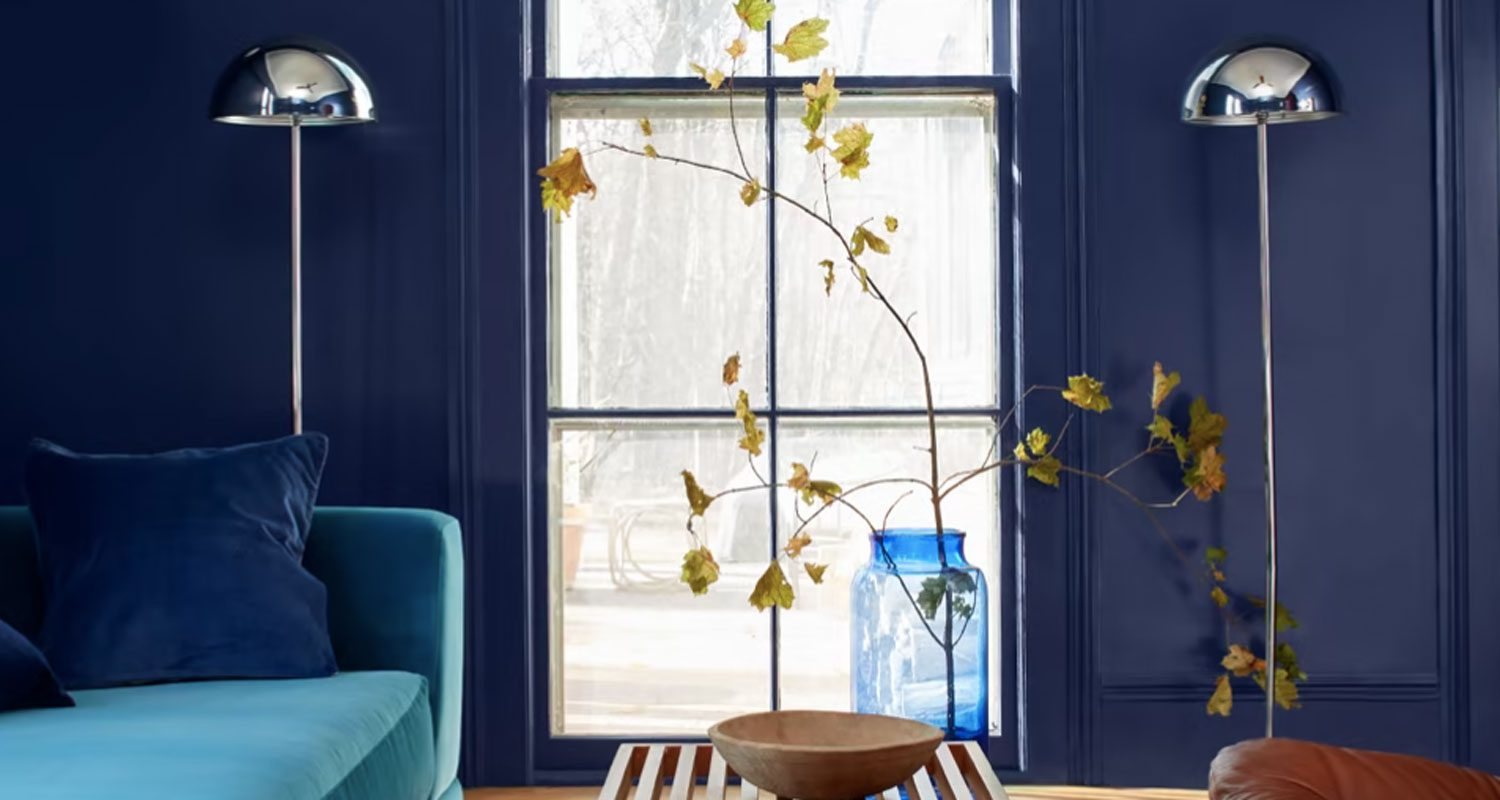 Blue Aura paint by Benjamin Moore on an interior wall.
