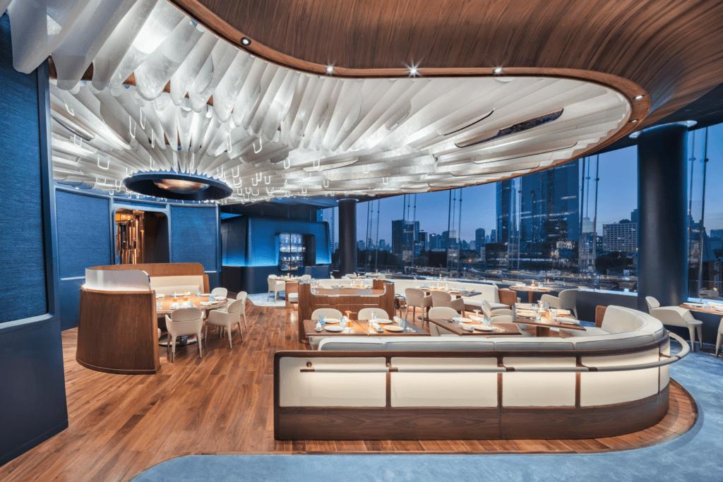 Inside Blue Restaurant.