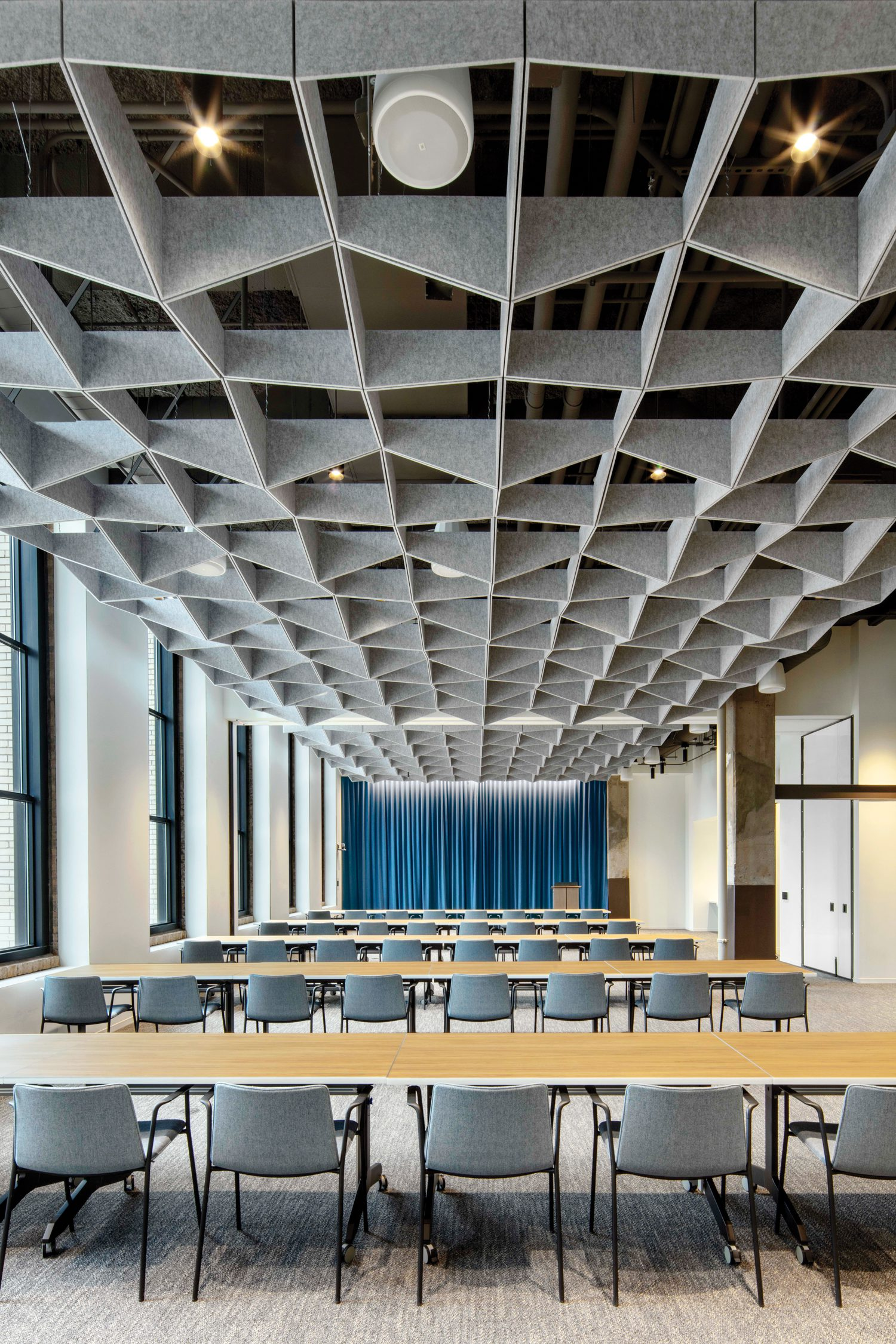 Custom felt ceiling baffles improve acoustics while helping create a sense of intimacy in the Options Institute, a multifunctional education space.