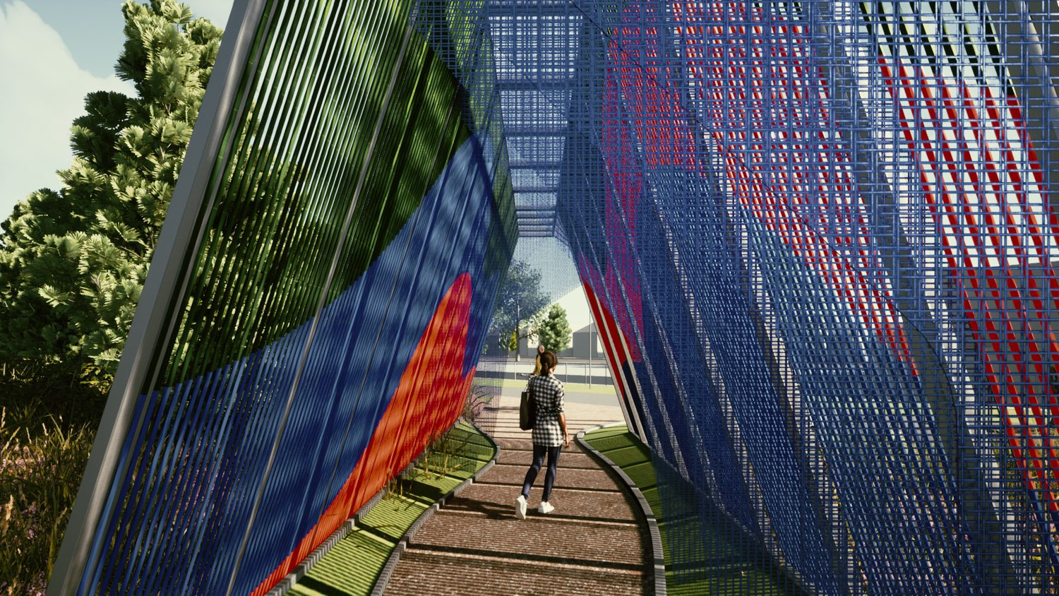 A woman stands beneath a blue and red woven tunnel that serves as a public art installation.