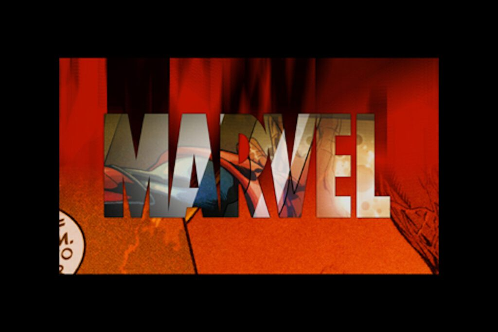 The Marvel Studios logo in red, which seems to pop off the page.