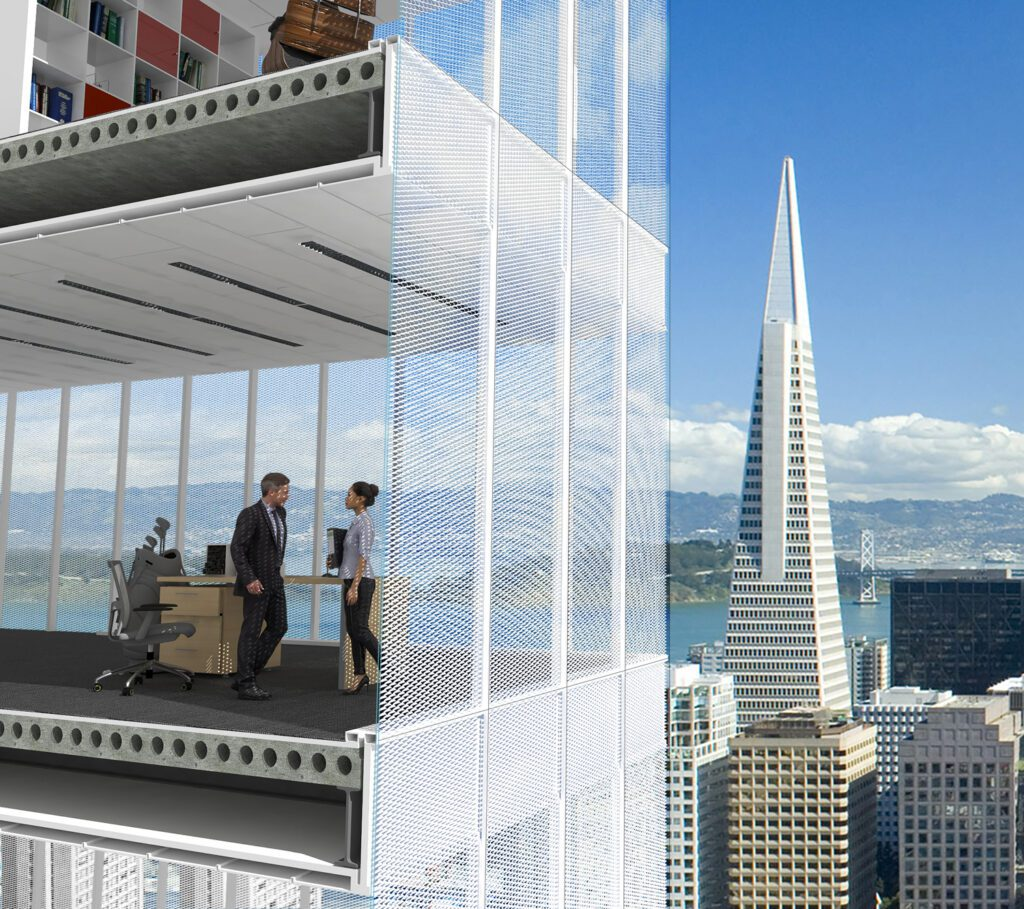 A self-shading window system pictured in use on a skyscraper with floor-to-ceiling windows.