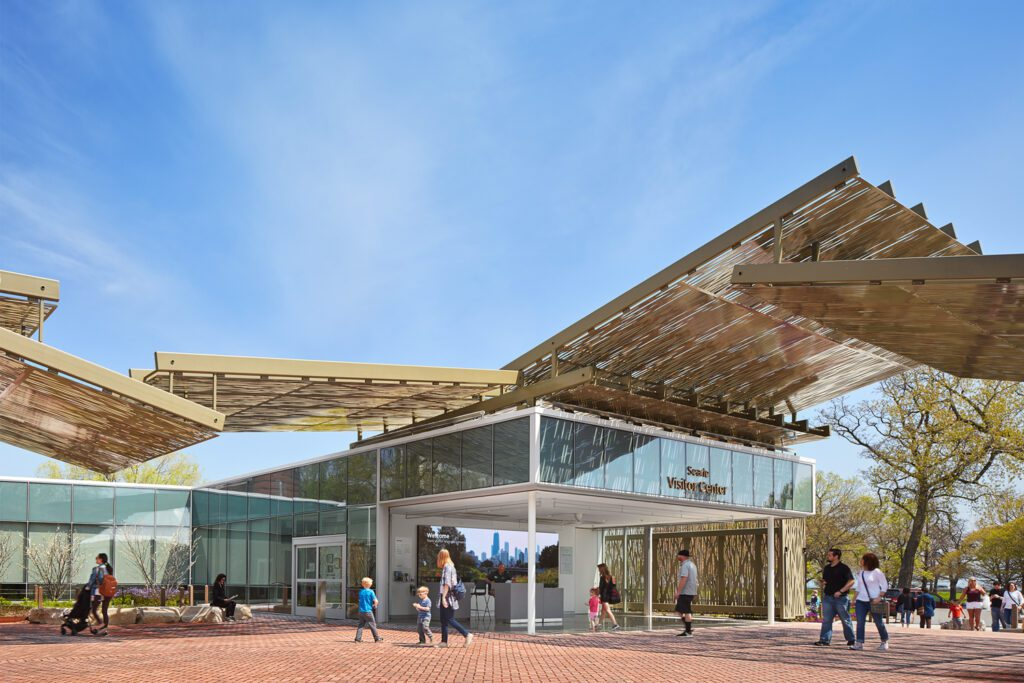 Ross Barney Architects, Lincoln Park Zoo Searle Visitor Center, a new pavilion for one of the oldest zoos in the country.