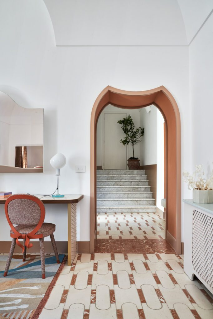 The beautiful terracotta tiled flooring was custom-designed by the architect to pay homage to the country's most prolific gardens.
