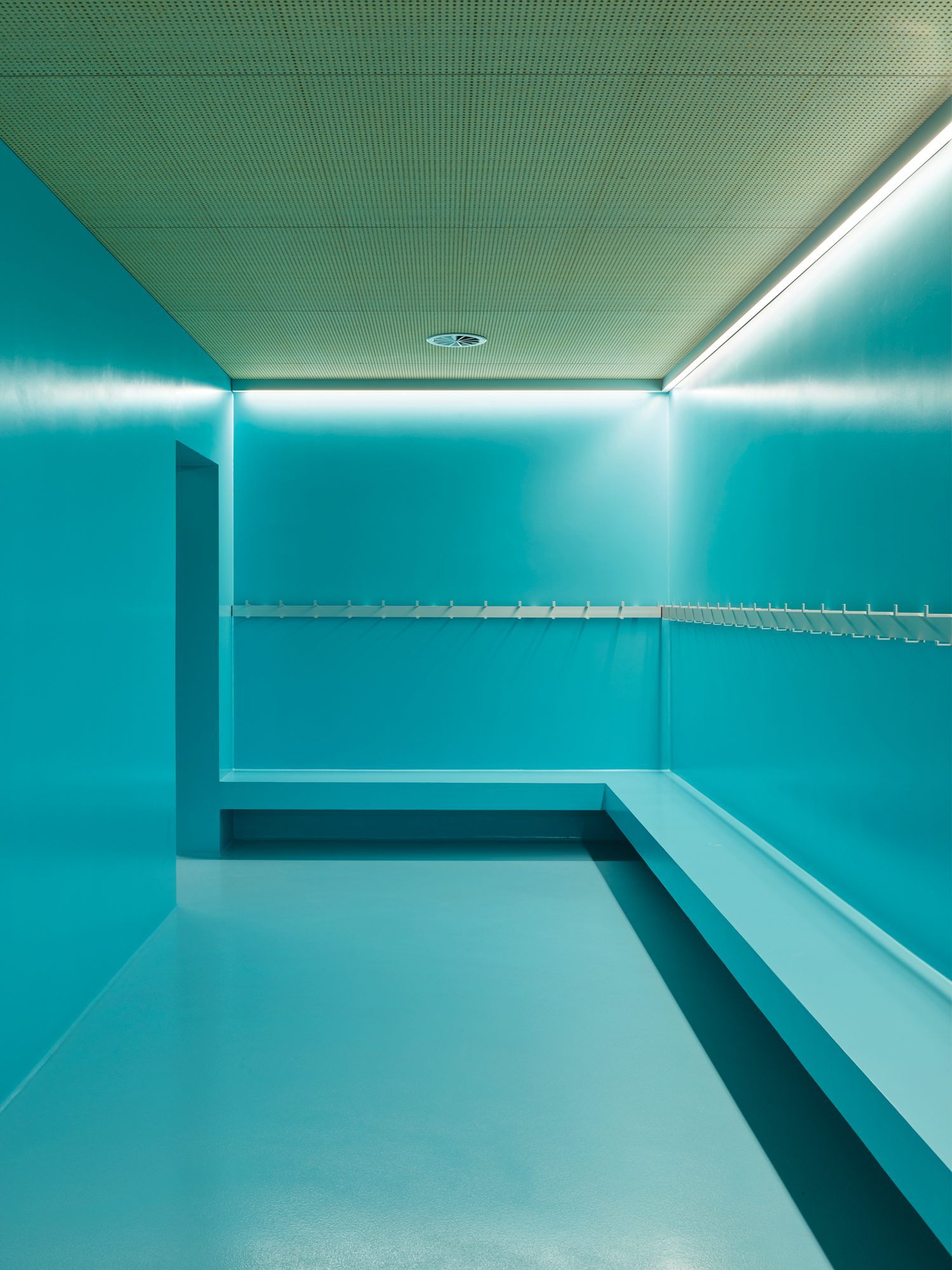 A light blue room.