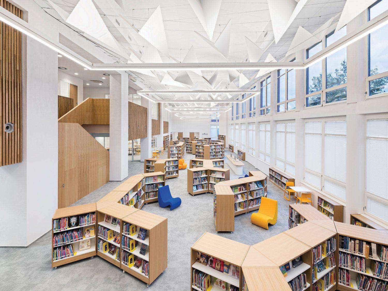 Geometric stacks of book shelves.