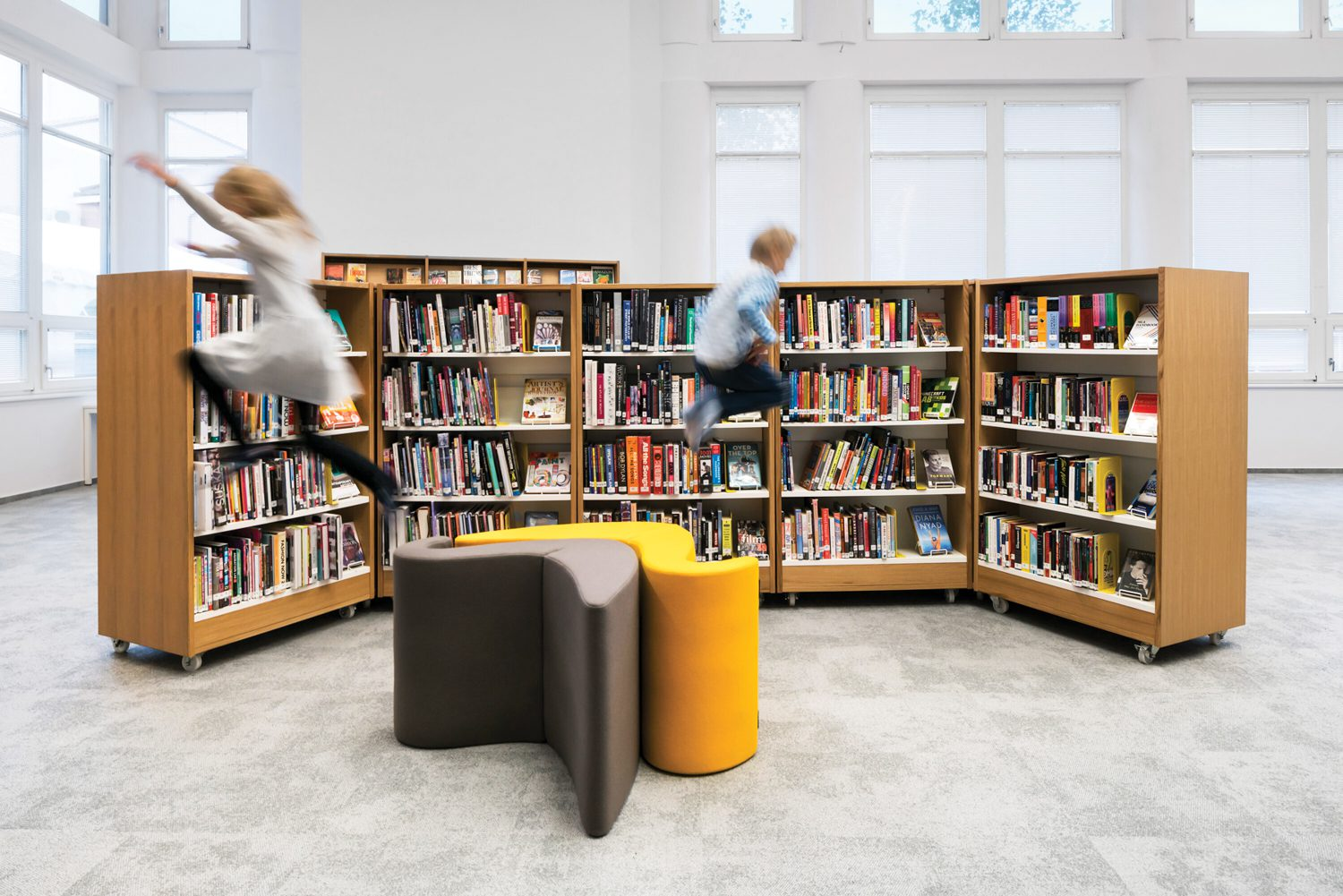 Library with yellow seating.
