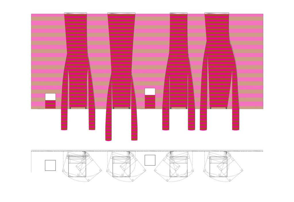 Study for Cozy Wall installation at Harvard University Graduate School of Design, Cambridge, MA. Drawing © French 2D.
