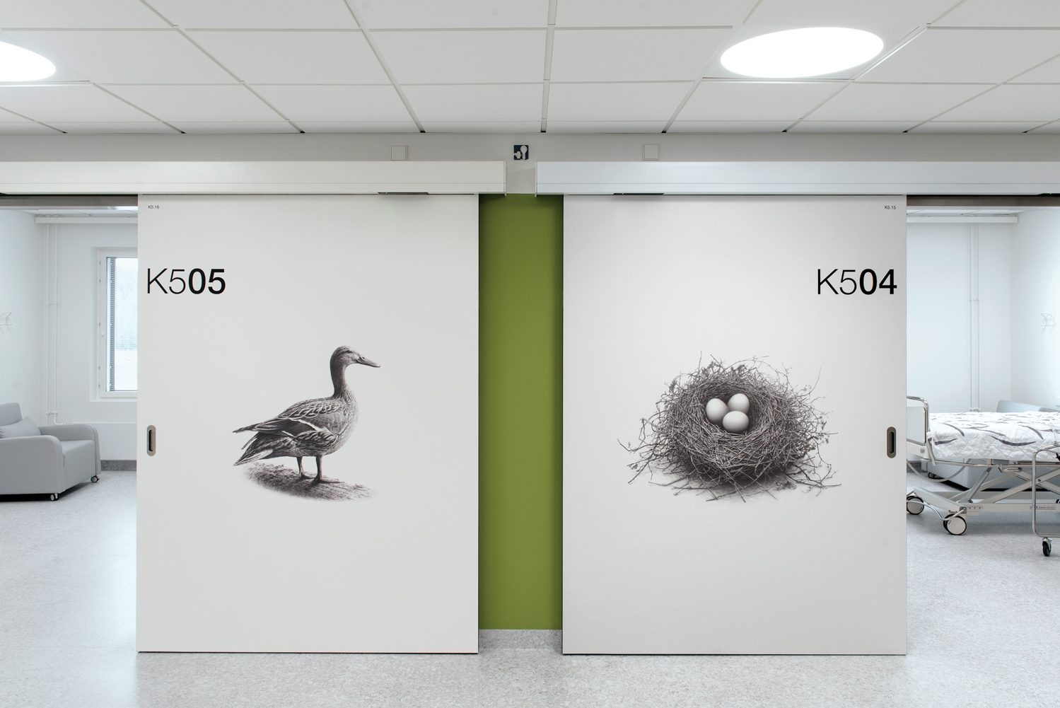 His nature images also appoint the rooms' automated sliding doors. Photography: Pauliina Salonen.
