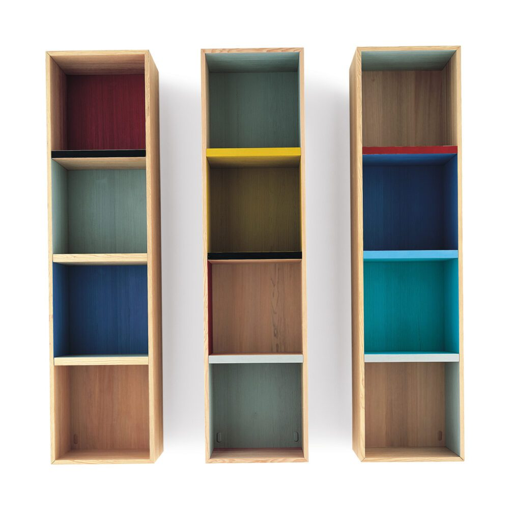Colorful storage cubes in three columns.
