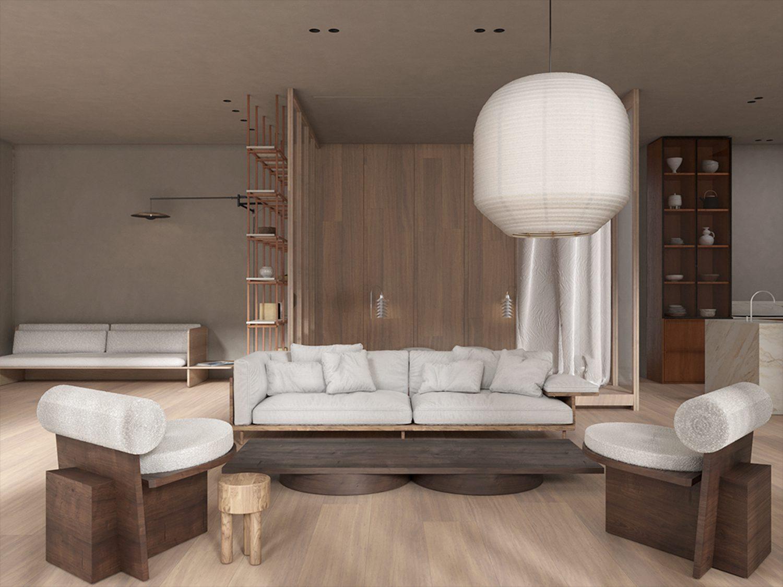 In the living area, Barber Osgerby's pendant illuminates Luca Nichetto's sofa for De La Espada.