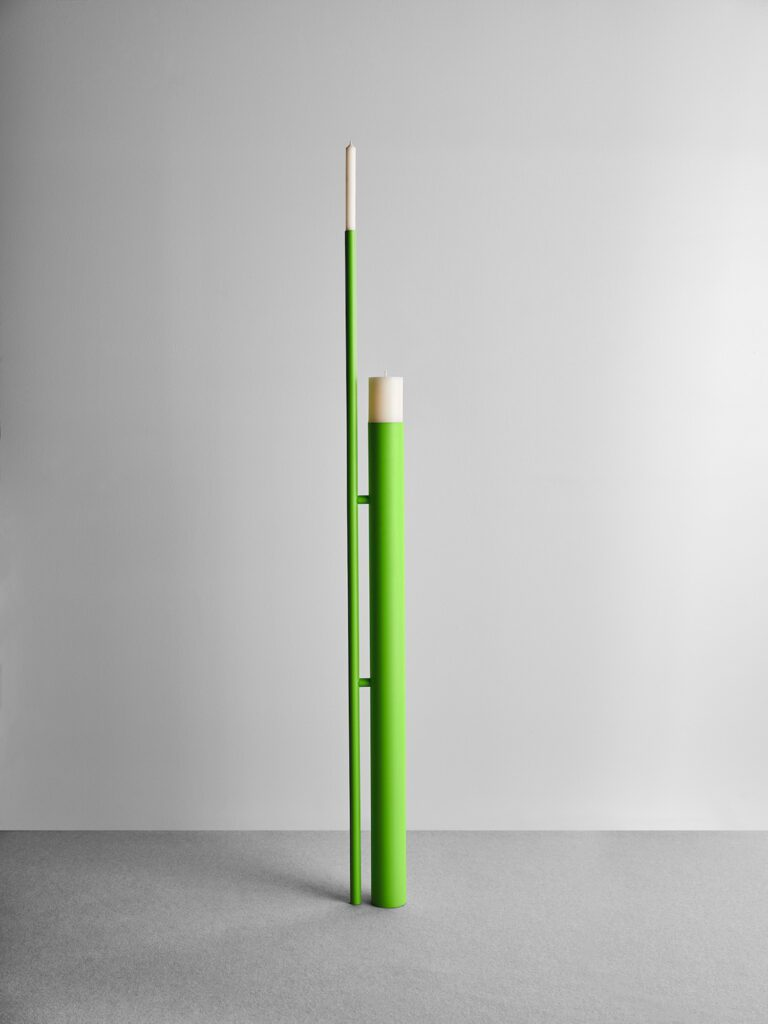 London's skyline, with its chimneys and industrial towers, sparked the idea for Stack, shown here as a slender green form, by Philippe Malouin.