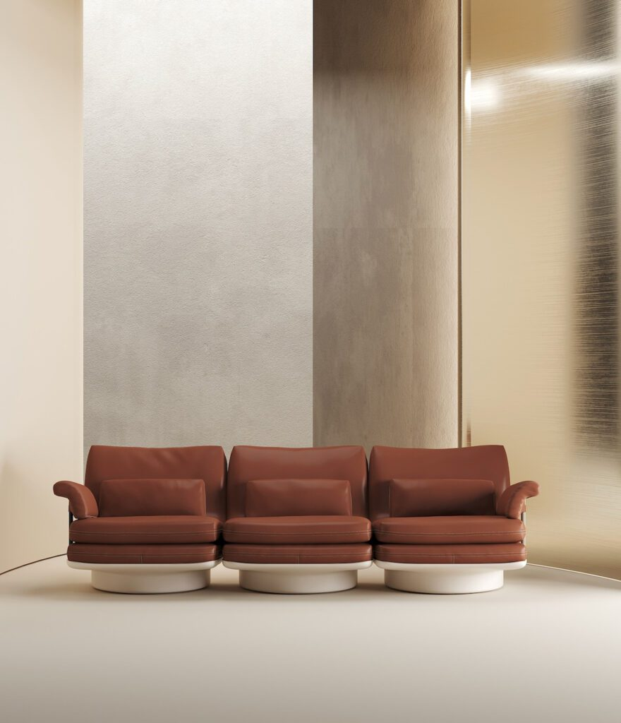 Each seat is a standalone armchair in the modular Bibendum sofa by Lucy Kurrein for Molinari – allowing endless configurations. Each also has a round base, for both a 1960's aesthetic and swivel power.