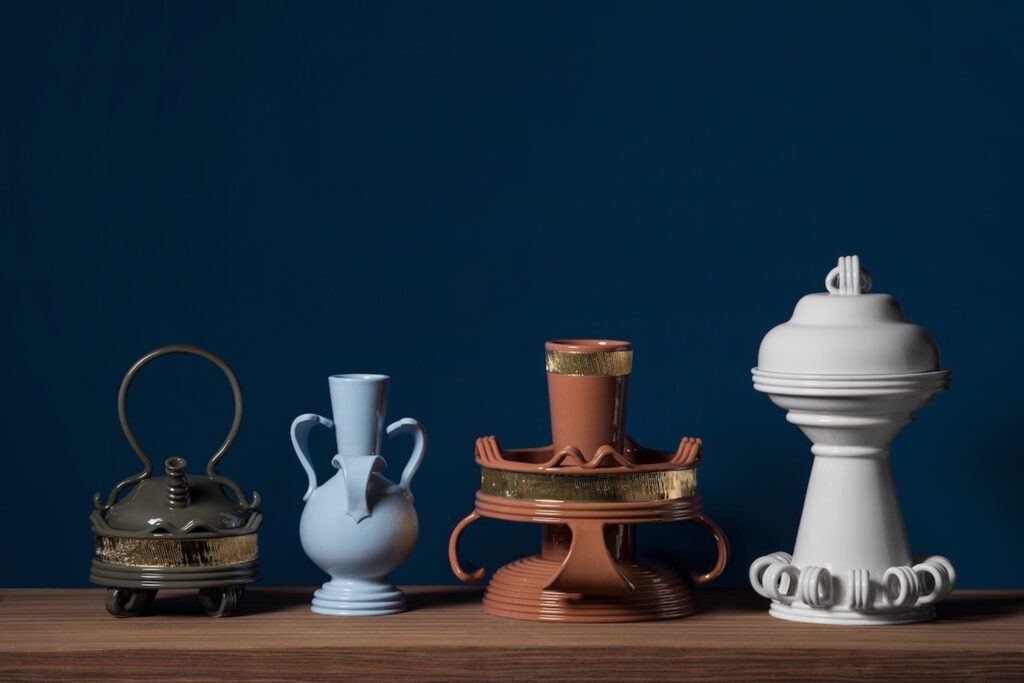 Ceramic vases in earth tones and subtle hues.
