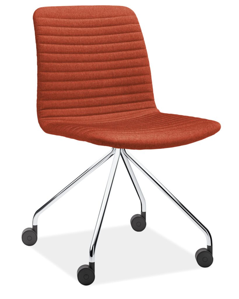 A red leather office chair on wheels.
