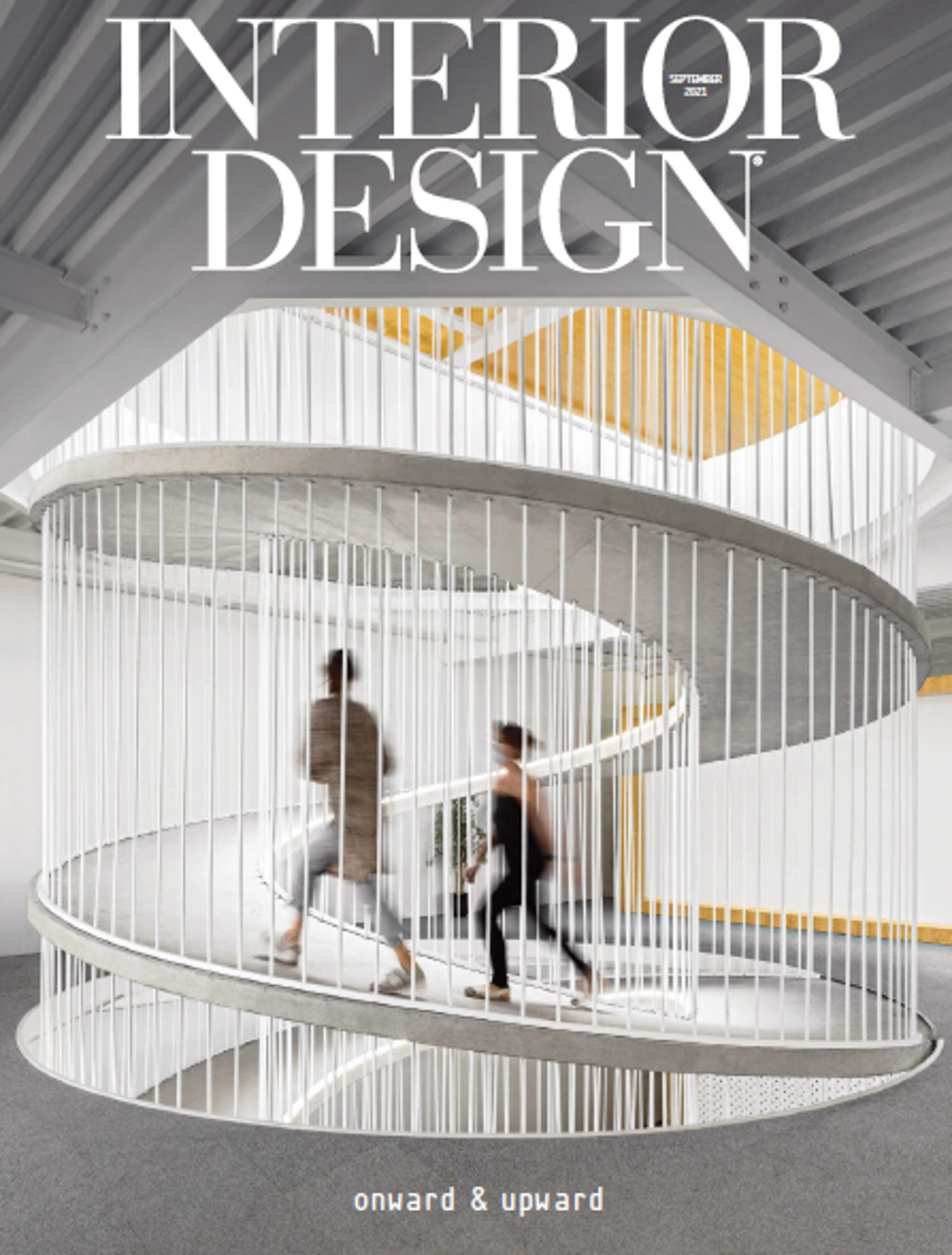 Interior Design September 2021 cover with a spiral gray ramp.