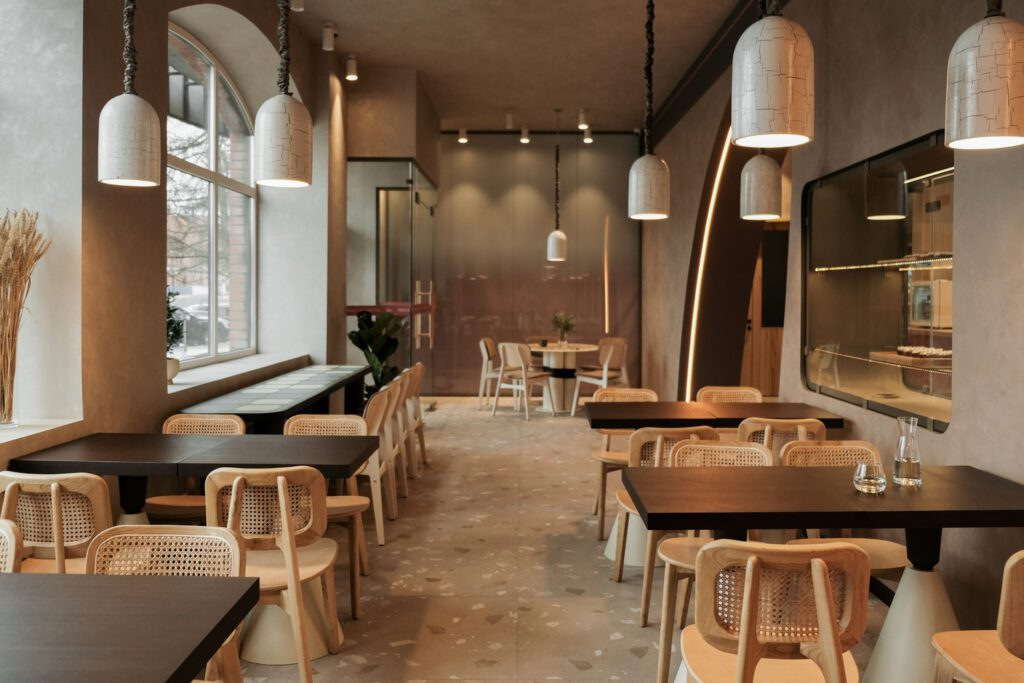 Pendants feature a crackled texture referencing the crusts of baked bread